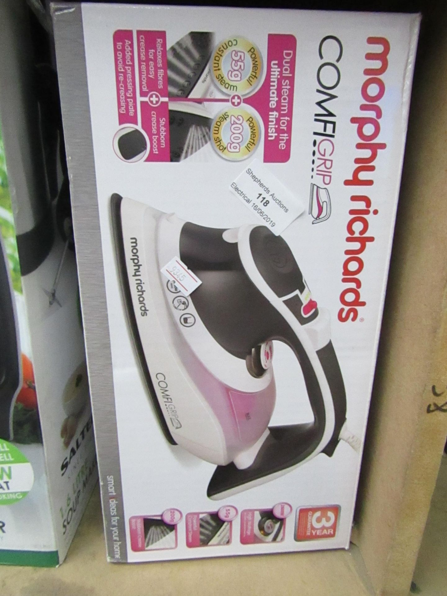 Lot 118 - Morphy Richards Comfi Grip steam iron, powers on and boxed.