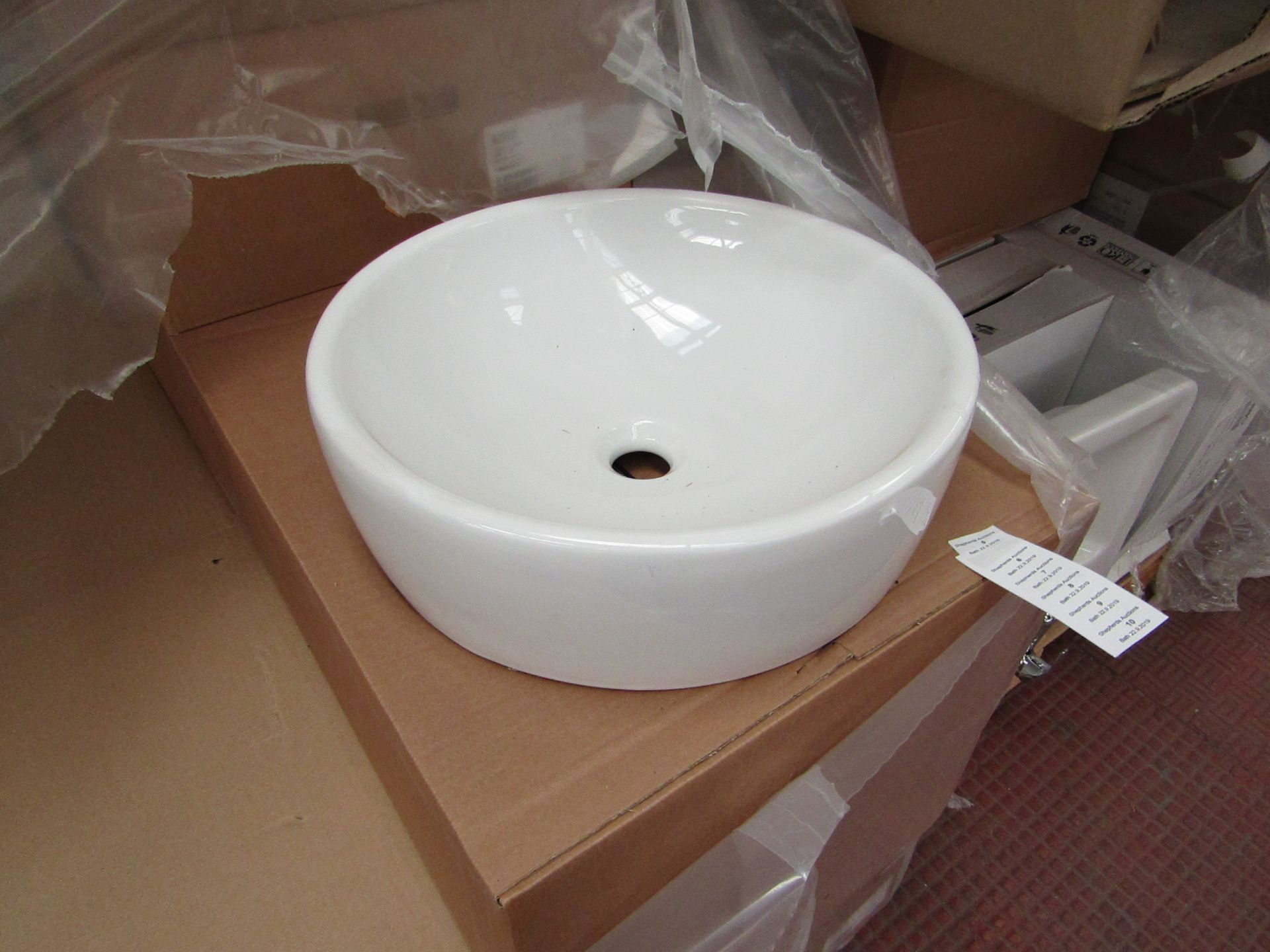Nabis 45cm circular counter top sink, new and boxed
