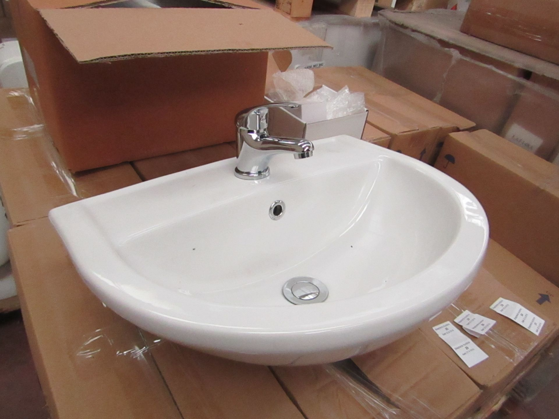 Lotto 31 - Lecico Remini 50cm 1 tap hole sink, new