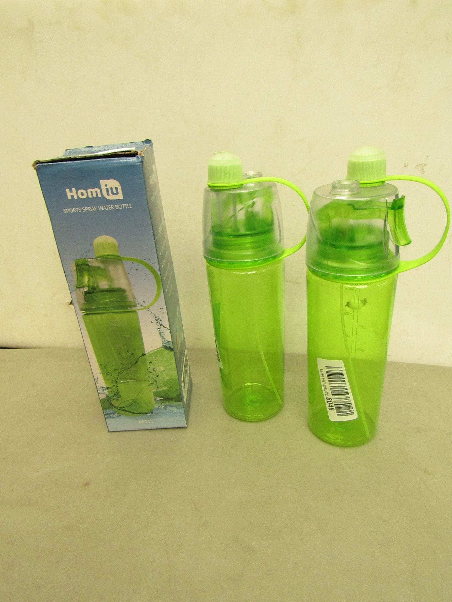 Lotto 13 - 3 x Homiu Sports Spray Water Bottle, 1 is boxed
