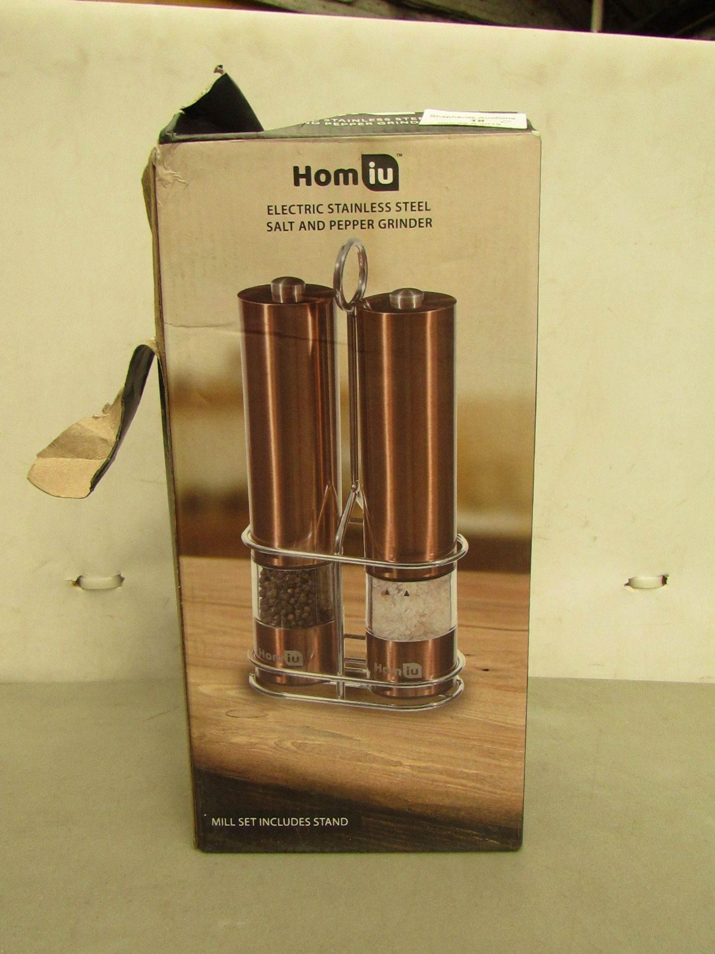 Lotto 18 - Homiu Electric Stainless Steel Salt and Pepper Grinder set in Copper . Boxed