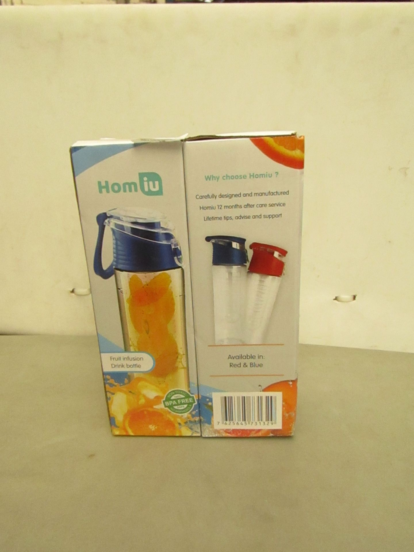 Lotto 14 - 2 x Homiu Fruit Infusion Drink Bottles Boxed and Unchecked