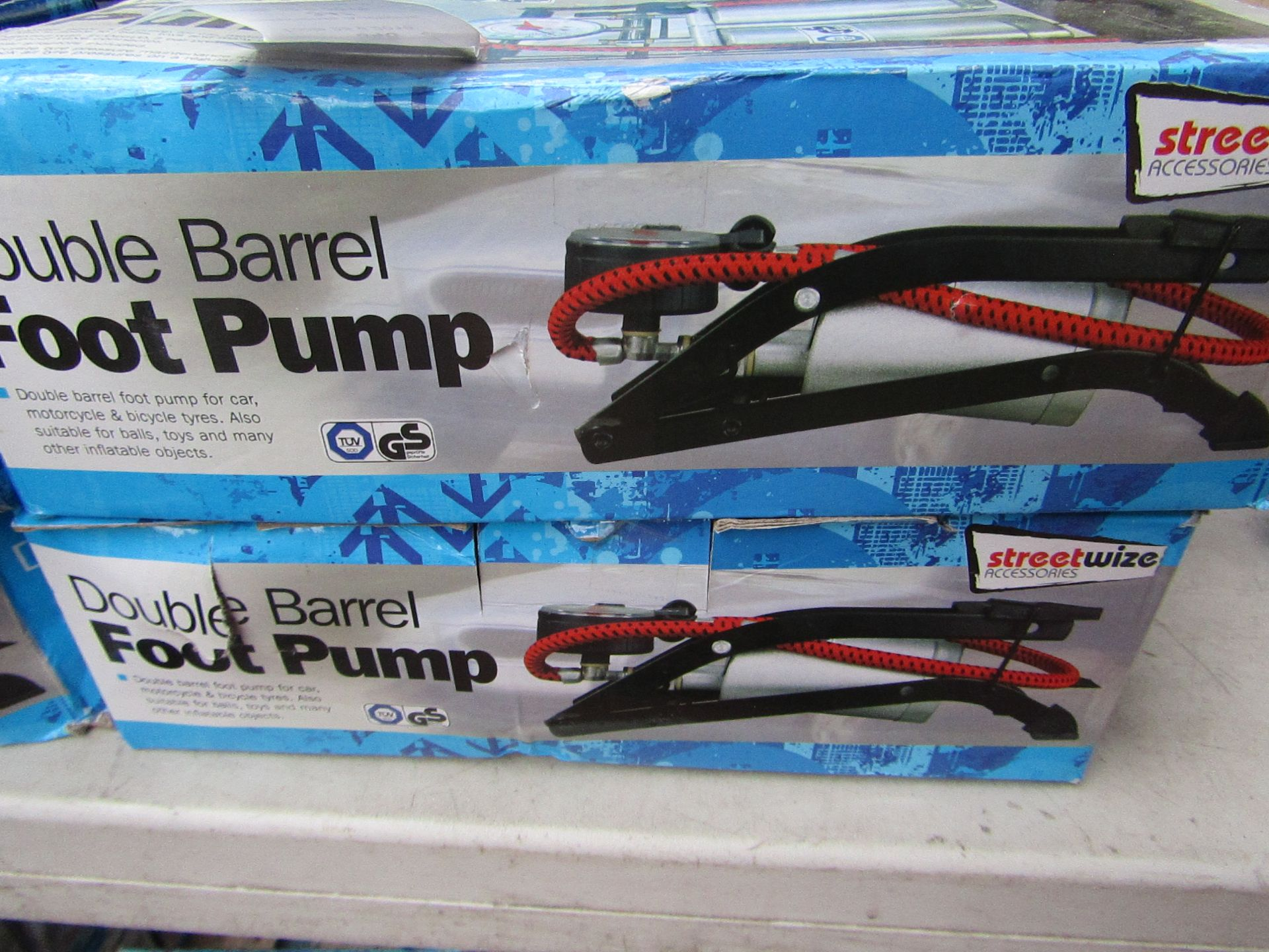 Lot 346 - 2x Double barrelled foot pumps, boxed and unchecked
