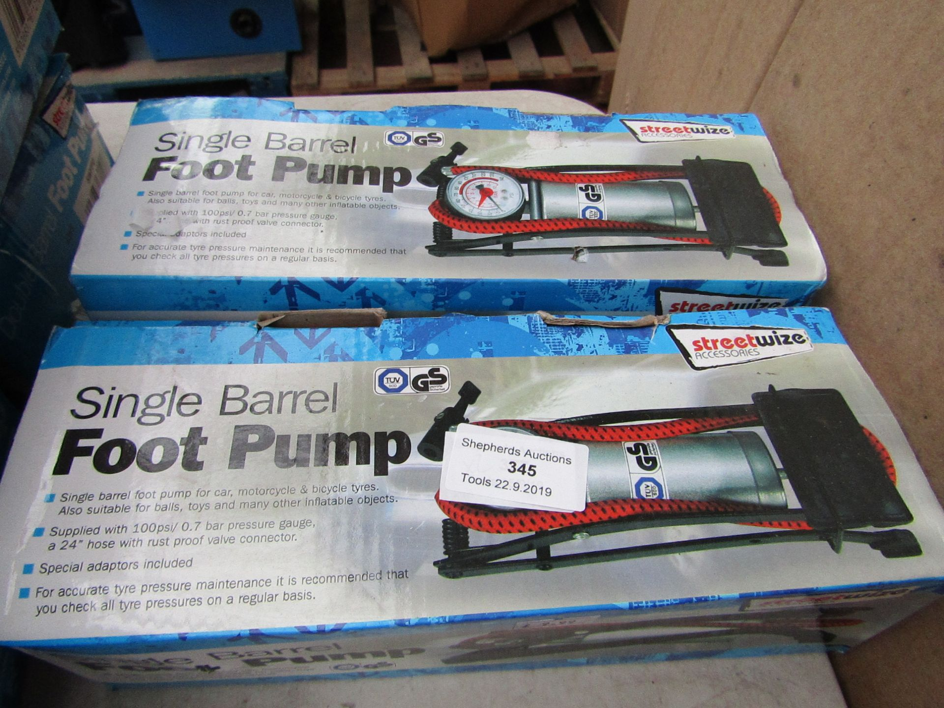 Lot 345 - 2x Streetwise single barrel foot pump, boxed and unchecked