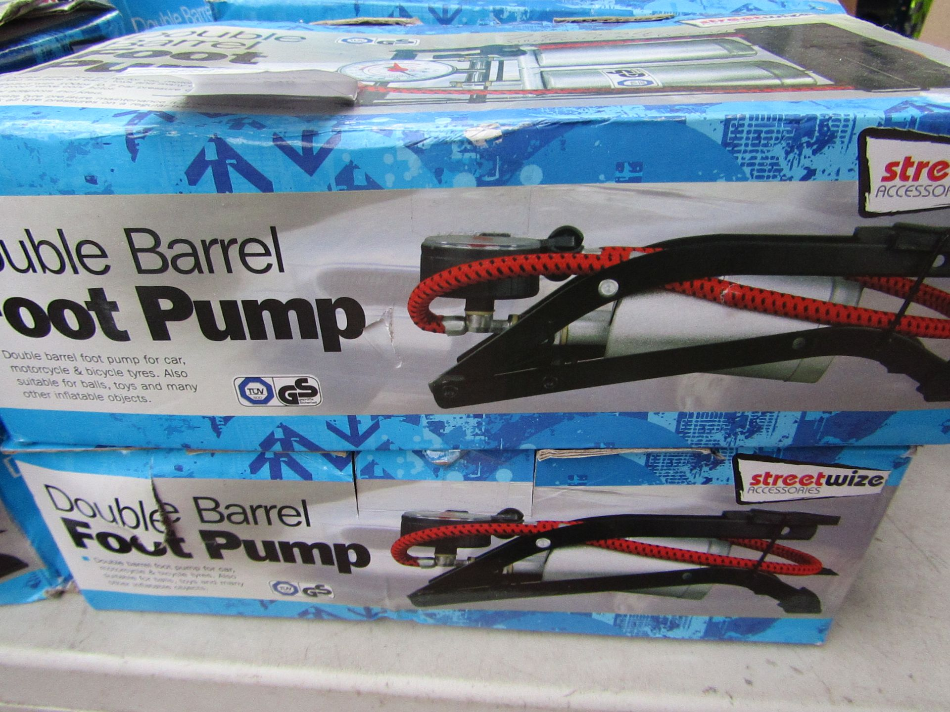 Lot 347 - 2x Double barrelled foot pumps, boxed and unchecked