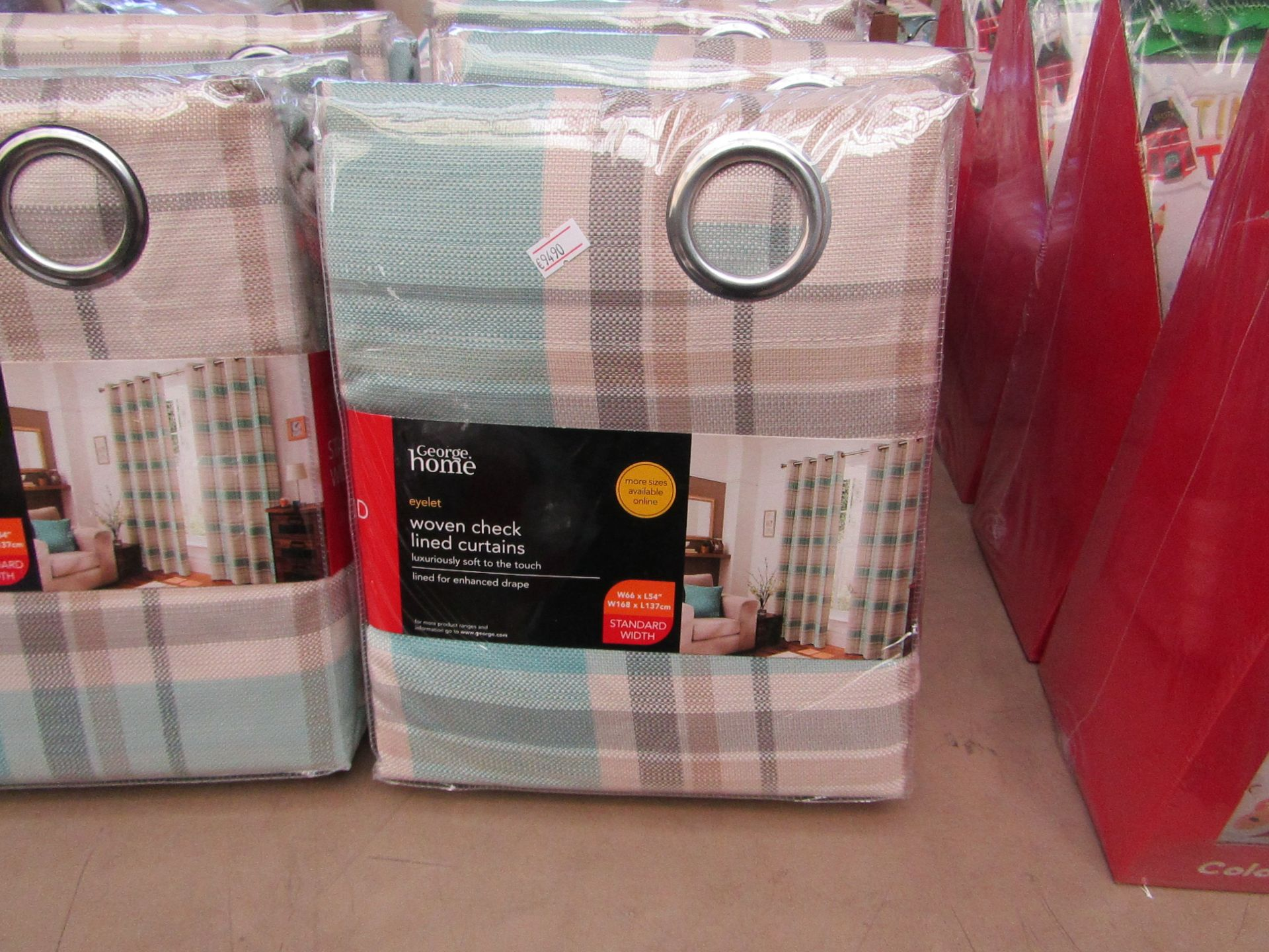 """Lot 4 - George Home woven checkered lined curtains, W 66 x L 54"""", new and packaged."""