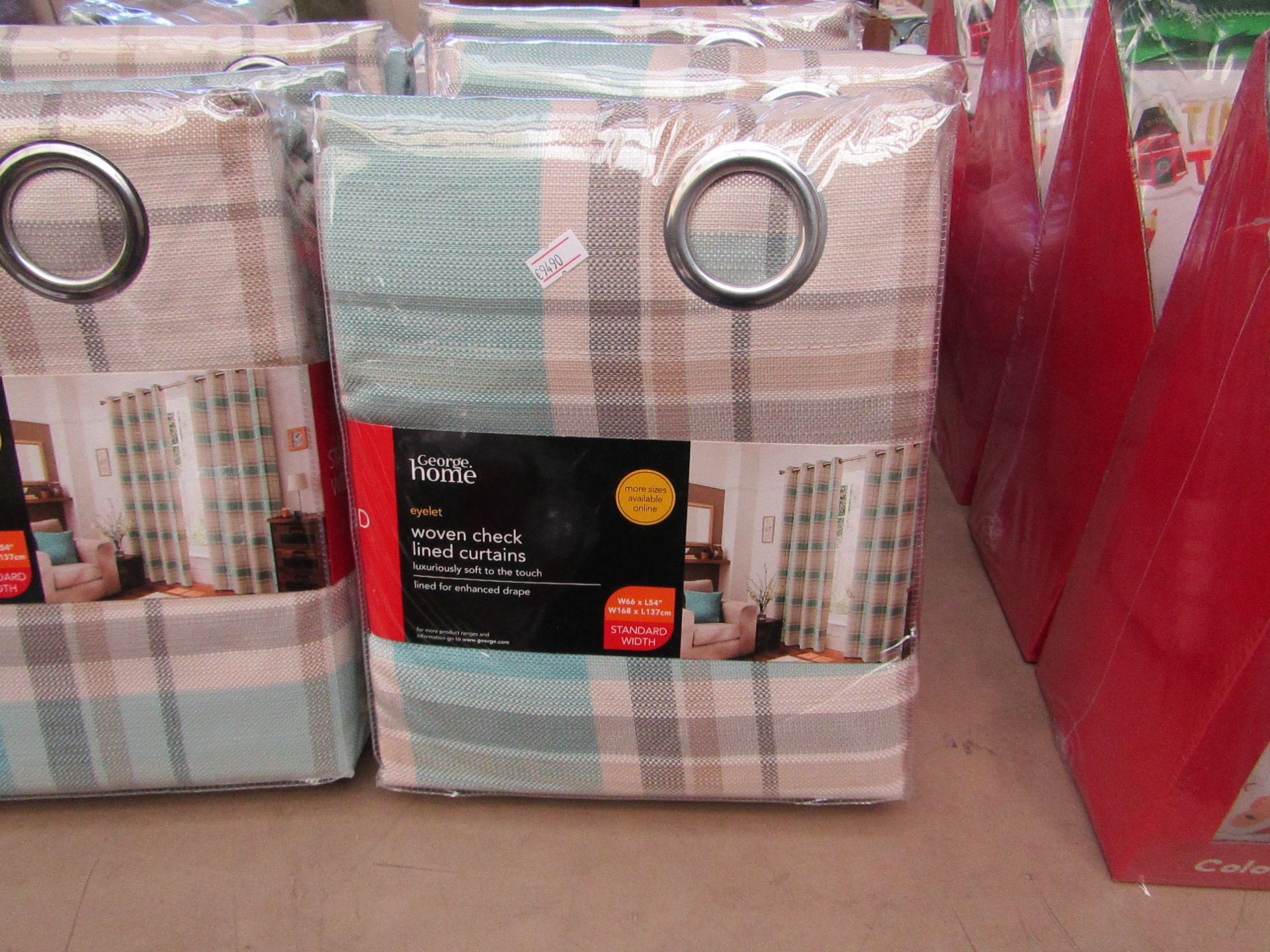 """Lot 1 - George Home woven checkered lined curtains, W 66 x L 54"""", new and packaged."""