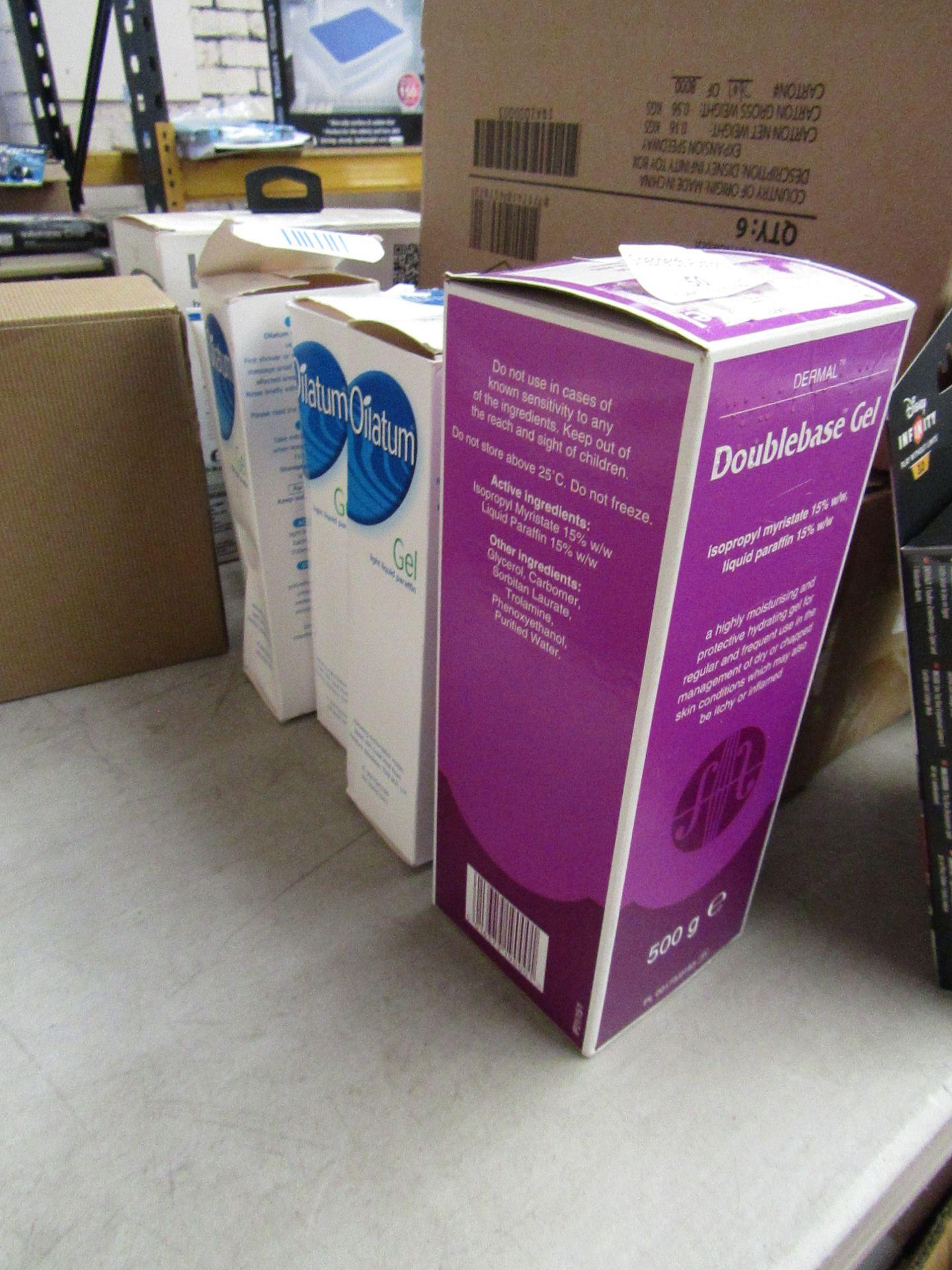 Lot 50 - 4x Items being; 3x 150g Oilatum light liquid paraffin gel with a 500g Dermal double base gel,