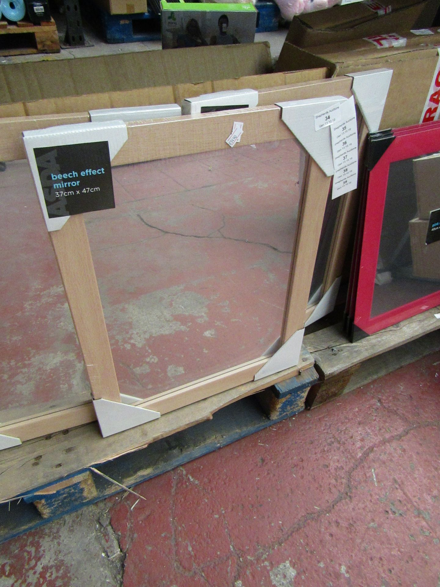 Lot 38 - Beech effect mirror, 37 x 47cm, new and packaged.