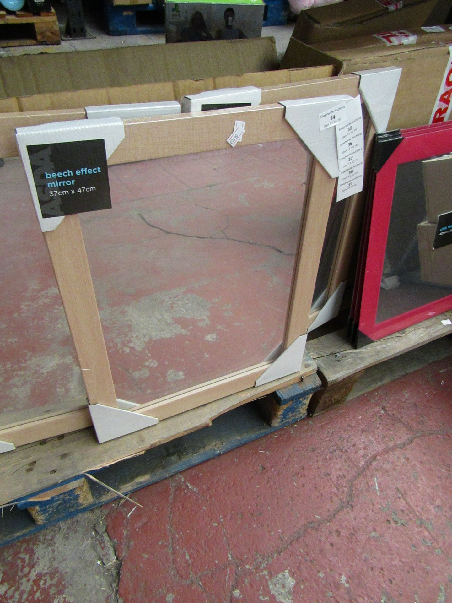 Lot 35 - Beech effect mirror, 37 x 47cm, new and packaged.