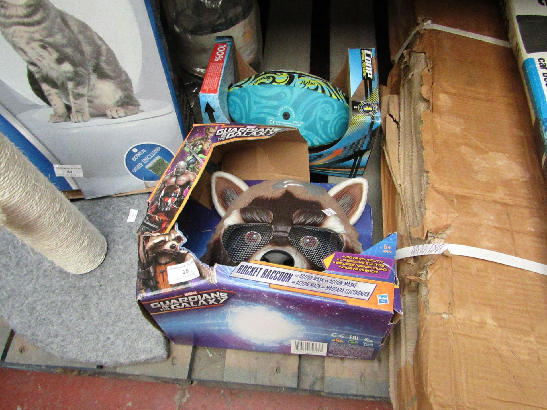 Lot 25 - 2x Children's toys being; Guardians of the Galaxy rocket racoon mask with a Coop hybrid football,
