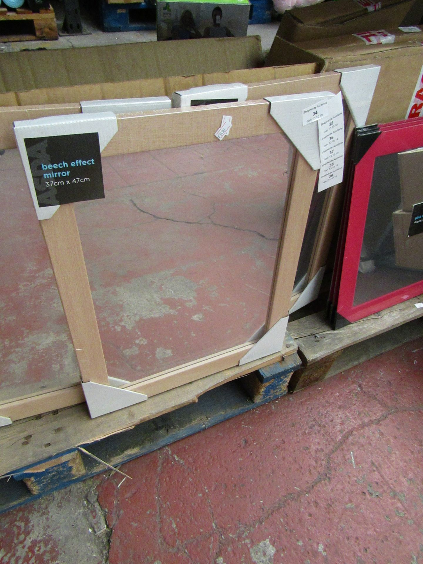 Lot 34 - Beech effect mirror, 37 x 47cm, new and packaged.