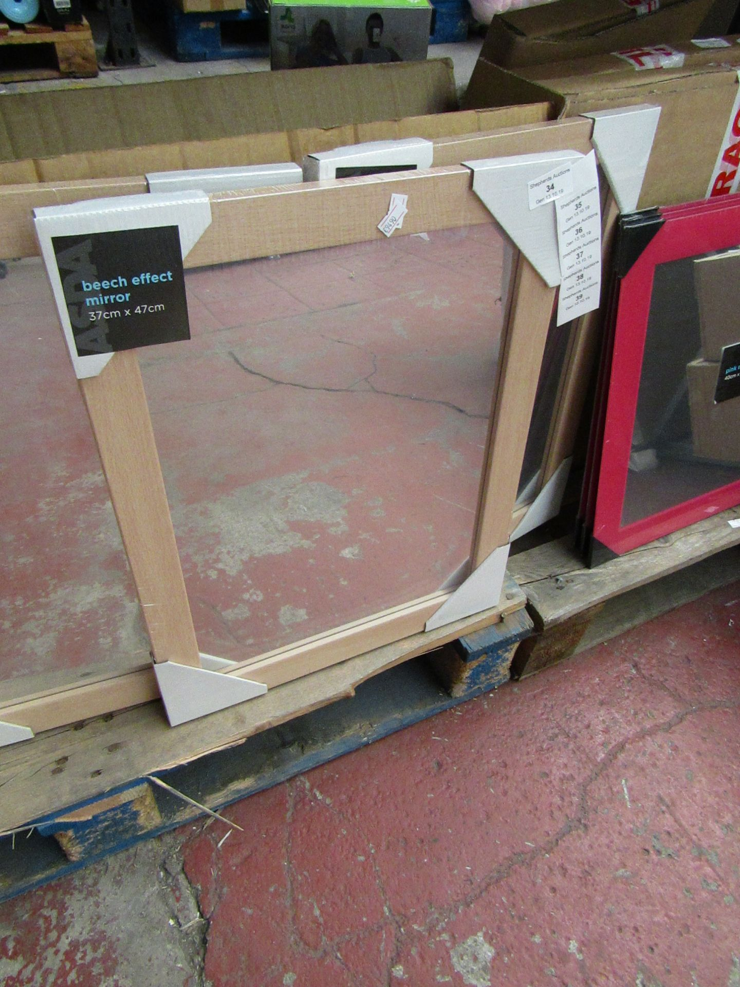 Lot 37 - Beech effect mirror, 37 x 47cm, new and packaged.