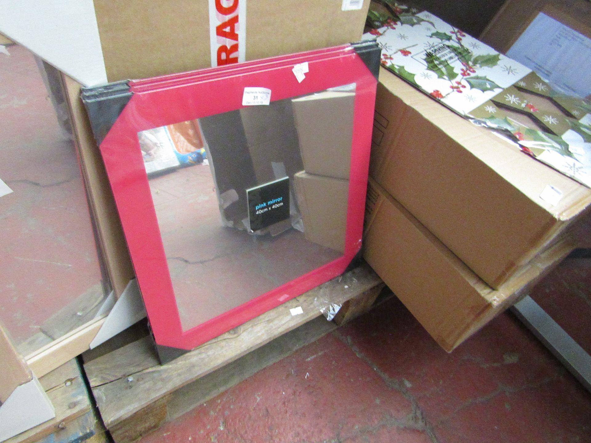Lot 31 - 3x Pink mirrors, 40 x 40cm, new.