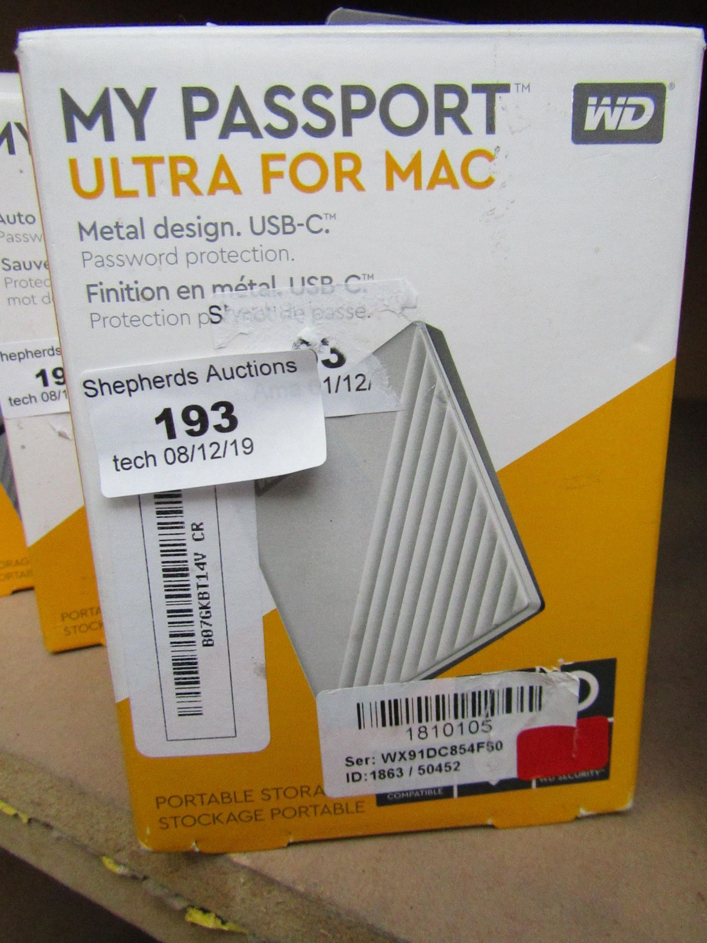 Lot 193 - Western Digital portable storage for Mac 4TB, untested and boxed.