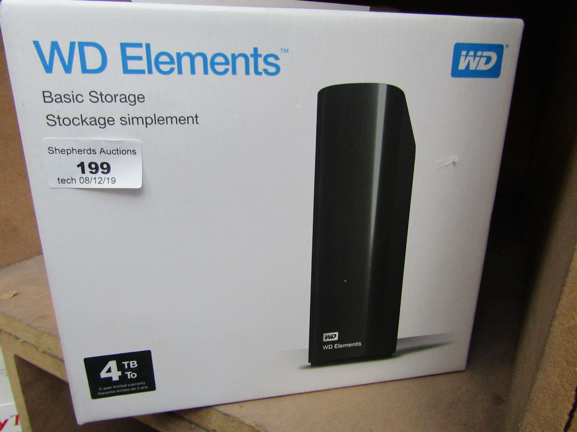 Lot 199 - Western Digital basic storage 4TB, untested and boxed.