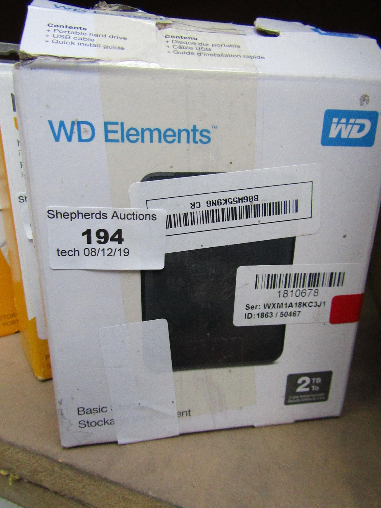 Lot 194 - Western Digital portable storage 2TB, untested and boxed.