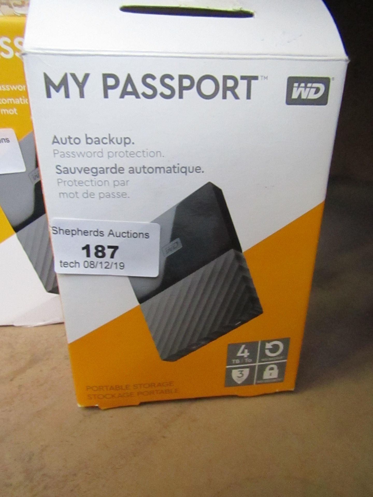 Lot 187 - Western Digital My Passport portable 4TB, untested and boxed.
