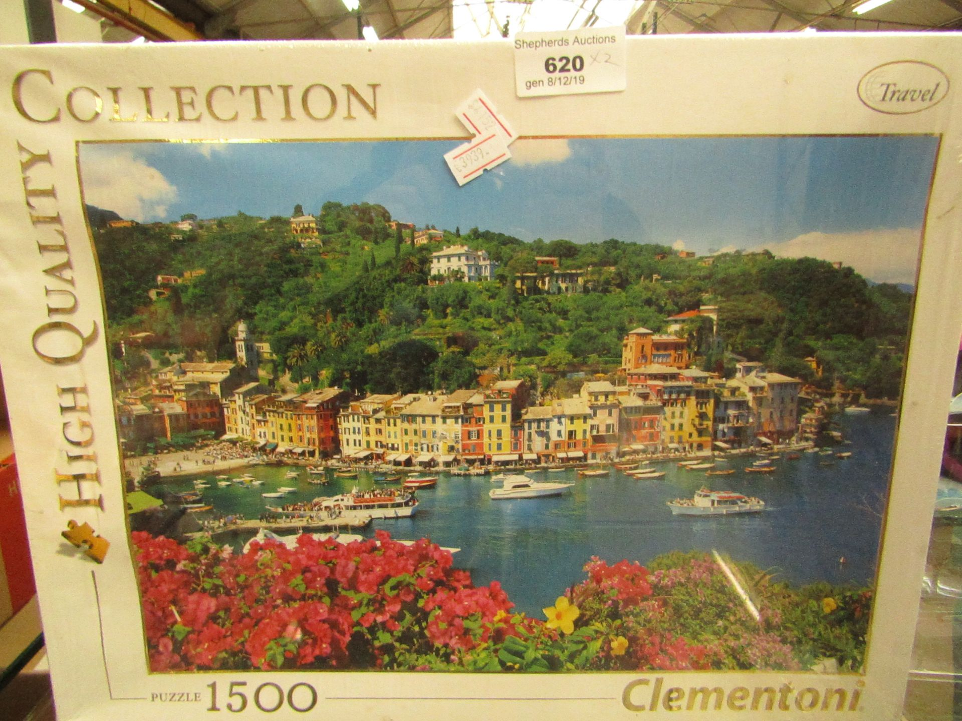 Lot 620 - 2 X Jigsaws 1500 pieces harbour scene packaging slightly damaged on 1