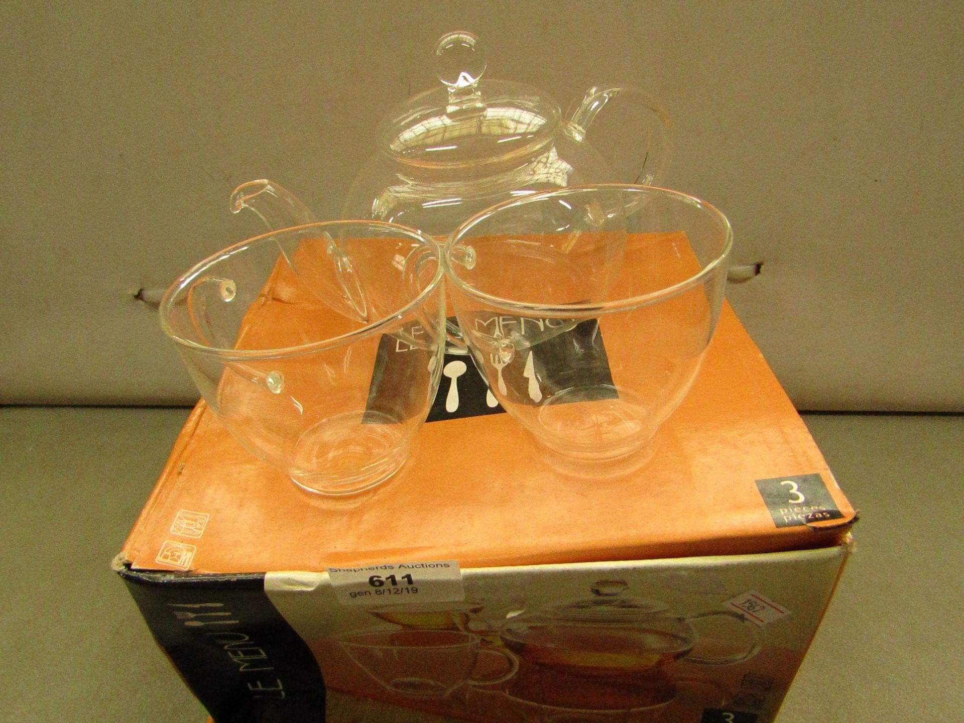 Lot 611 - Glass tea Pot & 2 Glass Cups Boxed
