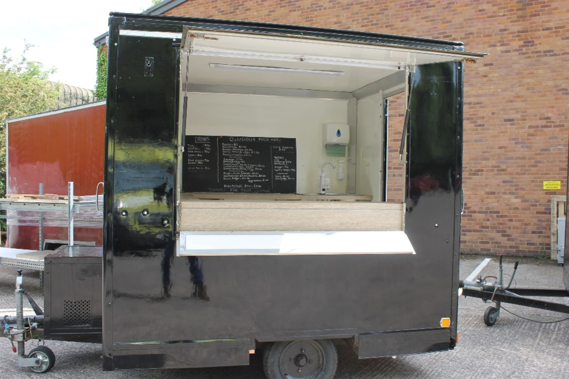 Lot 2 - Catering Trailer – Black – 7ft x 5ft – Refurbished Completely re-wired: New fuse box 32amp – 5 x