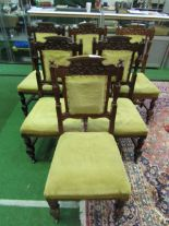 Lot 92 - 6 carved oak dining chairs with upholstered seats & back panel. Estimate £30-50.
