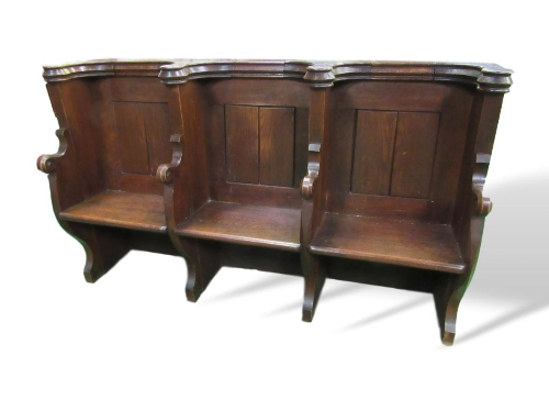 Lot 64 - Oak triple seat pew with ornate Gothic tracery to rear, 188cms x 54cms x 110cms. Estimate £200-300.