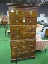 Lot 90 - Hardwood chest on chest, 81cms x 49cms x 177cms. Estimate £80-120.