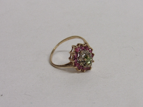 Lot 362 - 9ct gold, ruby, emerald & diamond ring, size N, weight 2.3gms. Estimate £50-70.