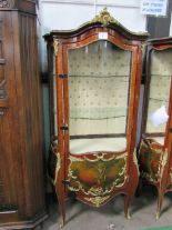 Lot 6 - Ornate Bombe French style display cabinet with ormolu mounts & painted panels to base, 2 interior