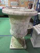 Lot 190 - Pair of large garden urns, 63cms x height 95cms (1 repaired). Estimate £200-300.