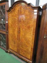 Lot 4 - Burr walnut double door wardrobe with a break-arch top, 116cms x 48cms x 200cms. Estimate £30-40.