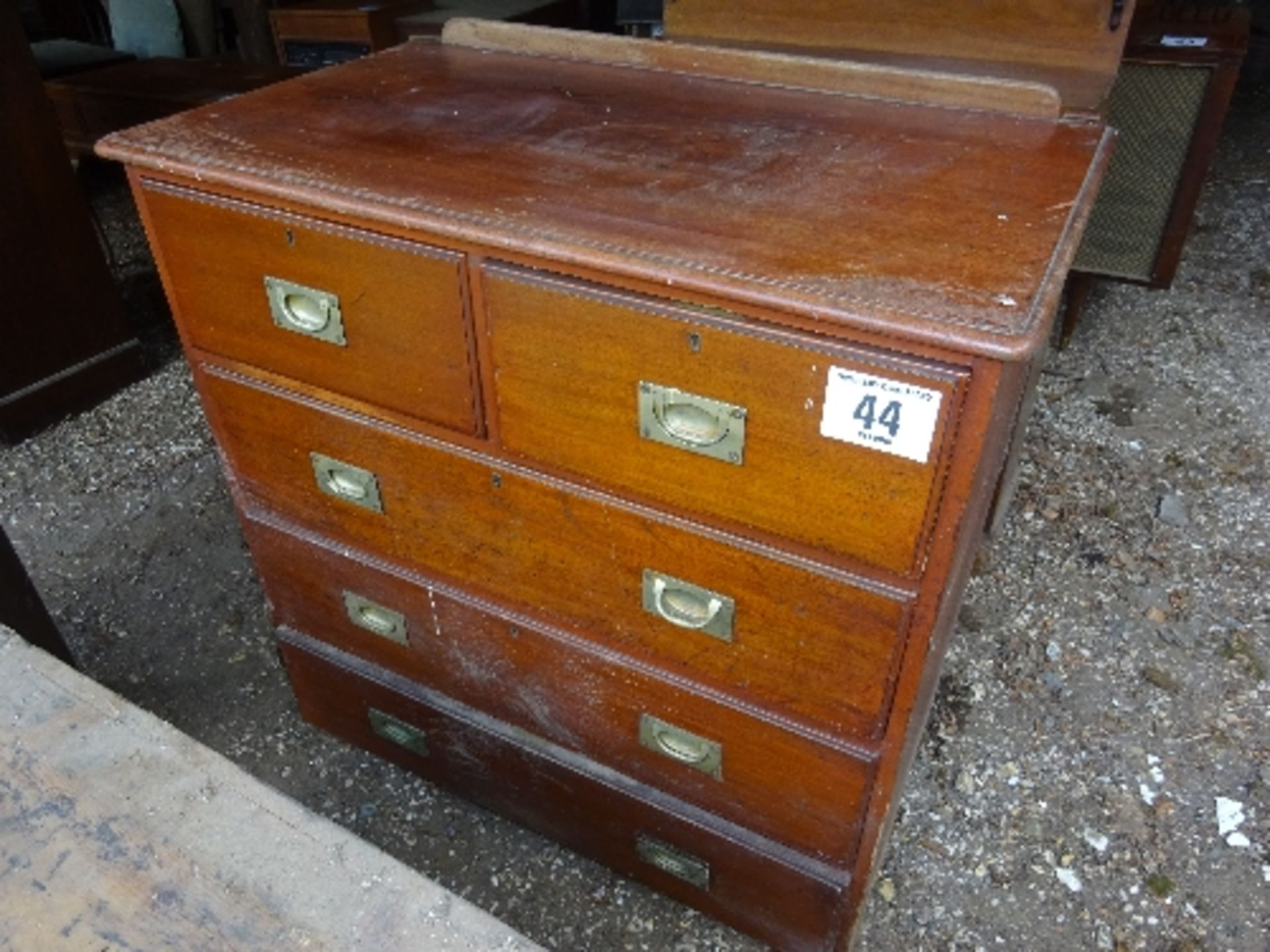 Lot 44 - Naval type Mahogany chest of drawers (2 over 3 drawers)