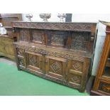 Lot 11 - Early 18th century carved oak press cupboard, 118cms x 61cms x 131cms. Estimate £200-250