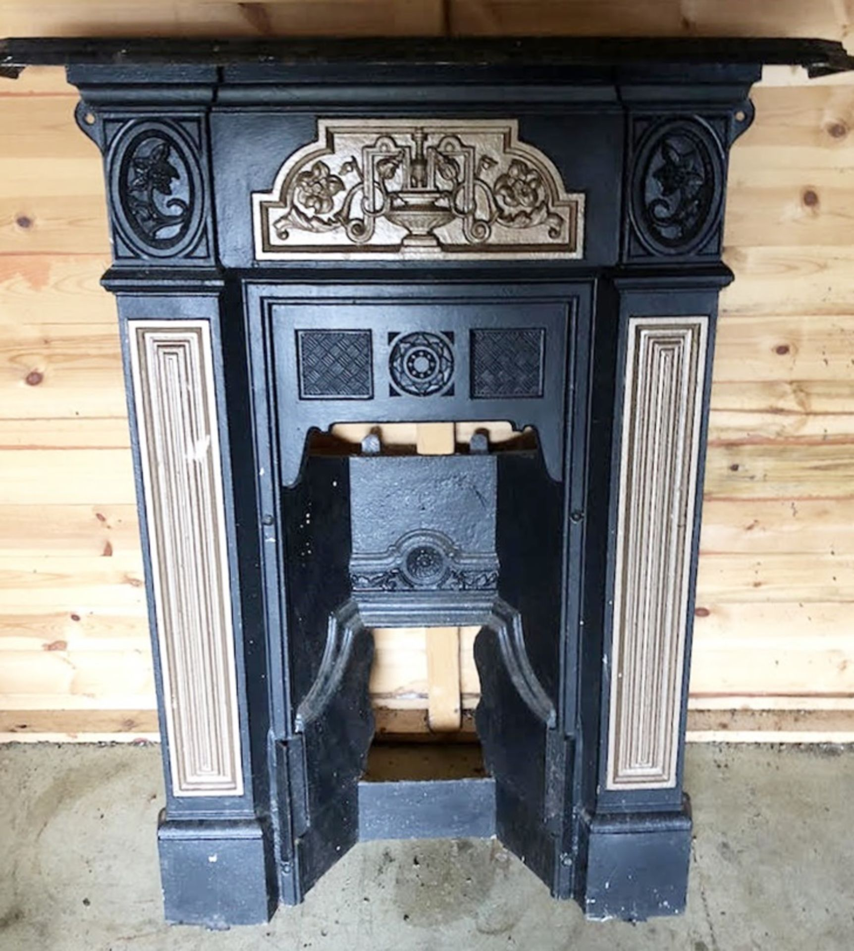 Lot 202 - 1 x Ornate Fire Surround Finished in Black and Gold - H100 x W75 cms - CL320 - Location: Herts WD23