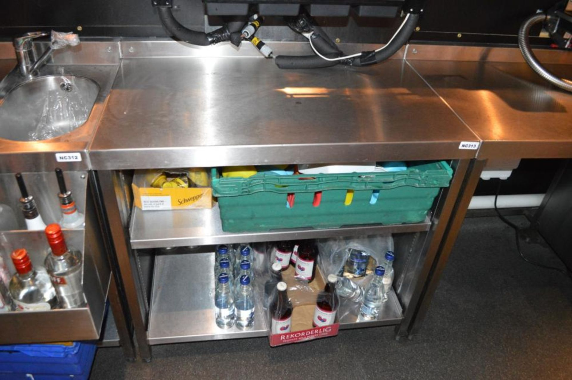 Lot 112 - 1 x Stainless Steel Back Bar Prep Table With Adjustable Shelves - H81 x W90 x D58 cms - Ref