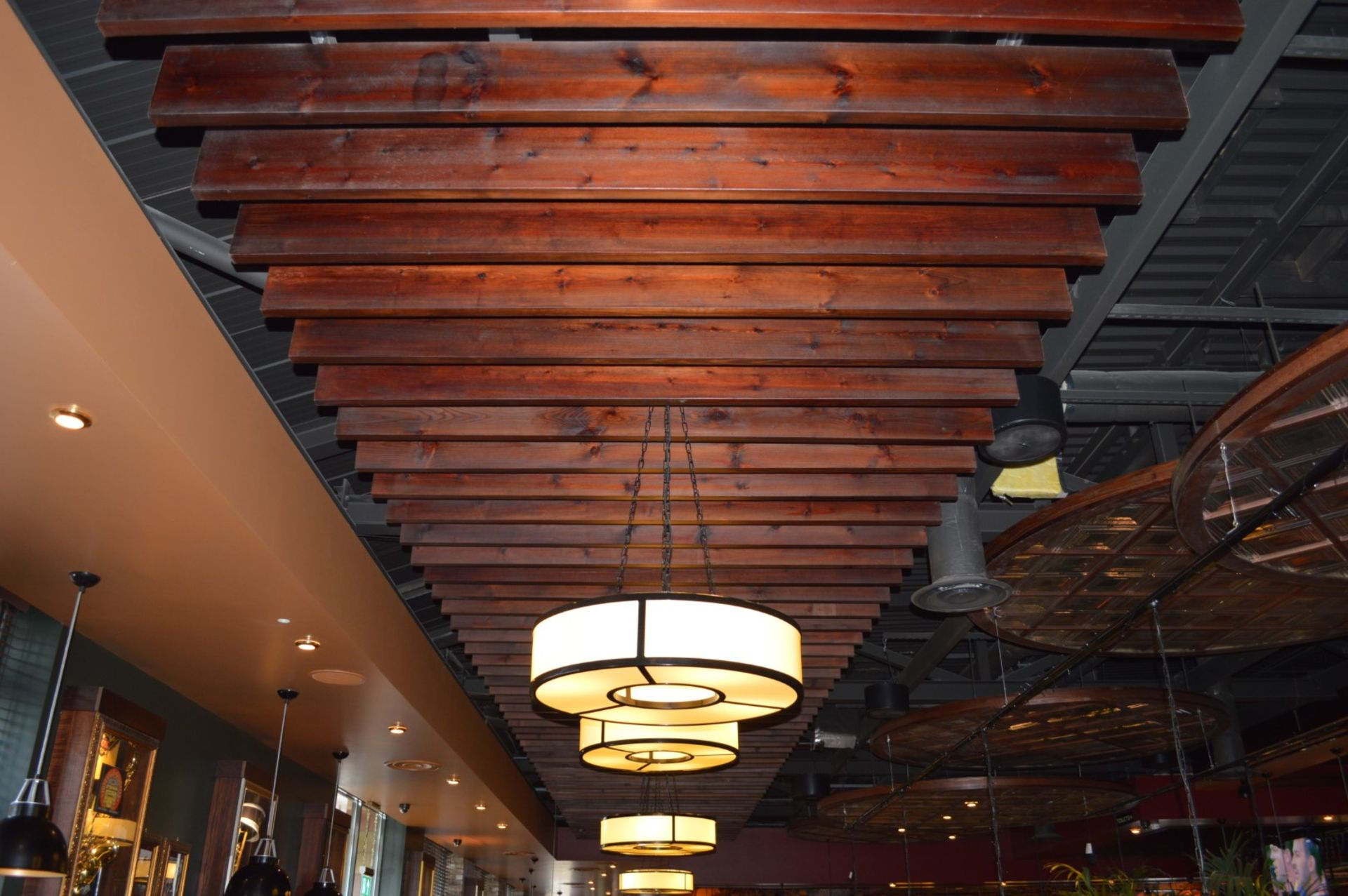 Lot 54 - 1 x Bespoke Stained Wood Ceiling Feature - Wooden Beams With Steel Mounting Bracket - Approx 40ft in