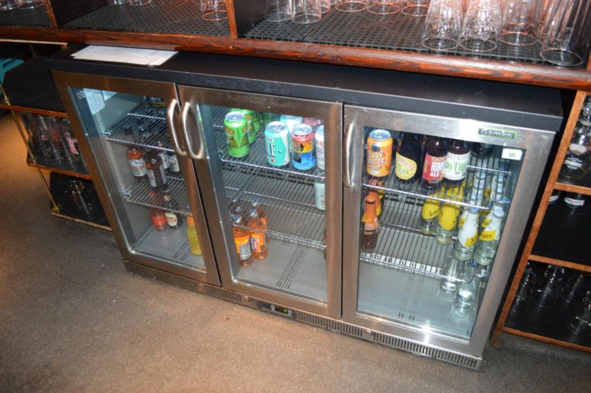 Lot 120 - 1 x Gamko High Capacity Triple Hinged Door Backbar Bottle Cooler - Stainless Steel Finish - Model