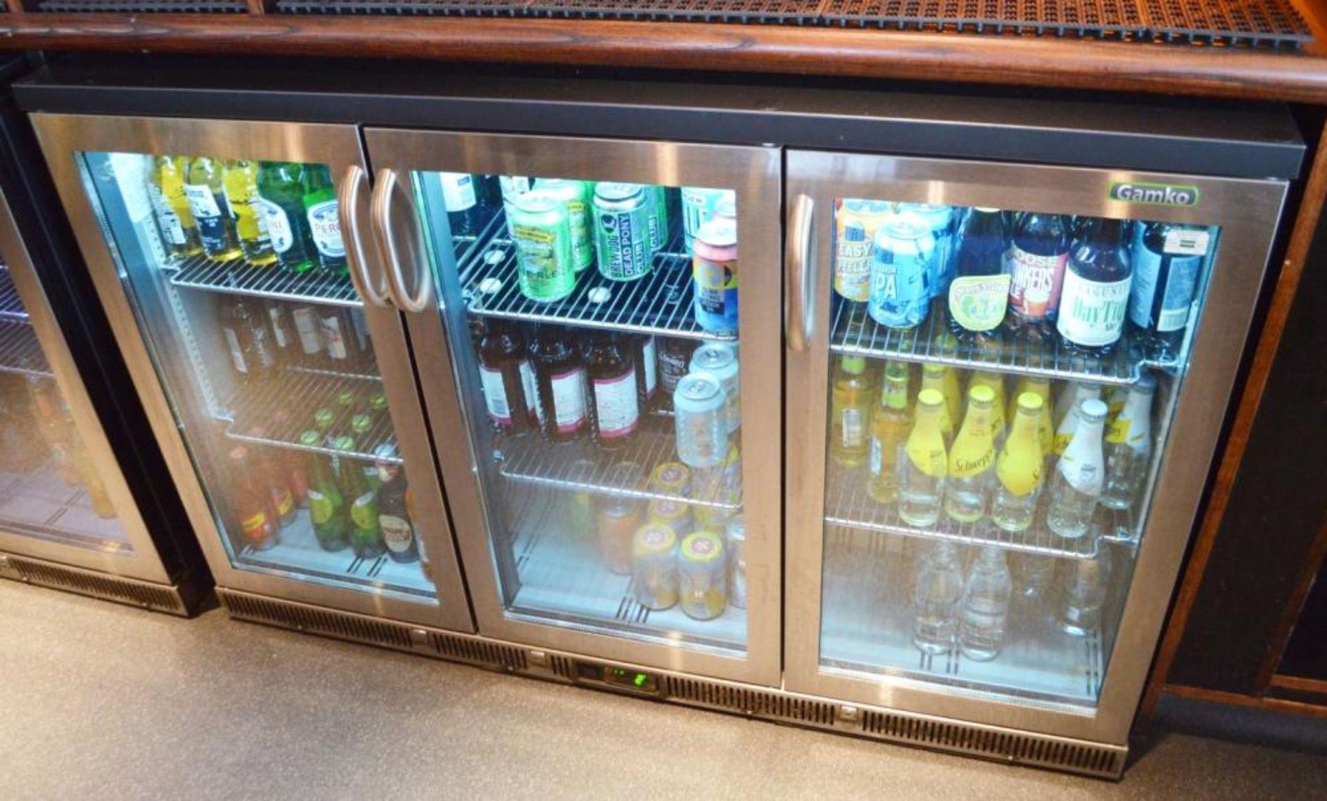 Lot 123 - 1 x Gamko High Capacity Triple Hinged Door Backbar Bottle Cooler - Stainless Steel Finish - Model