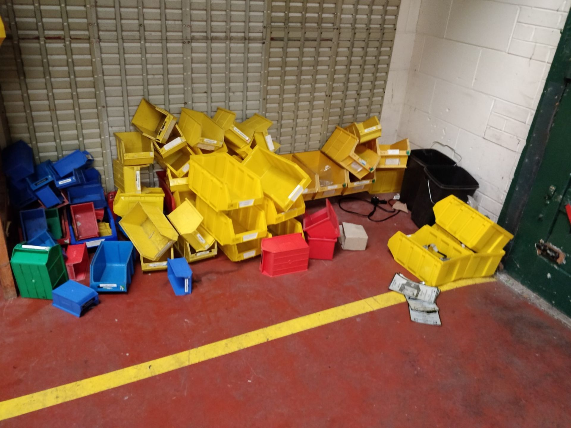 Lot 20 - Approx 220 x Lin Bin Containers With Wall Mounted Holders - Various Sizes and Colours Included - Ref