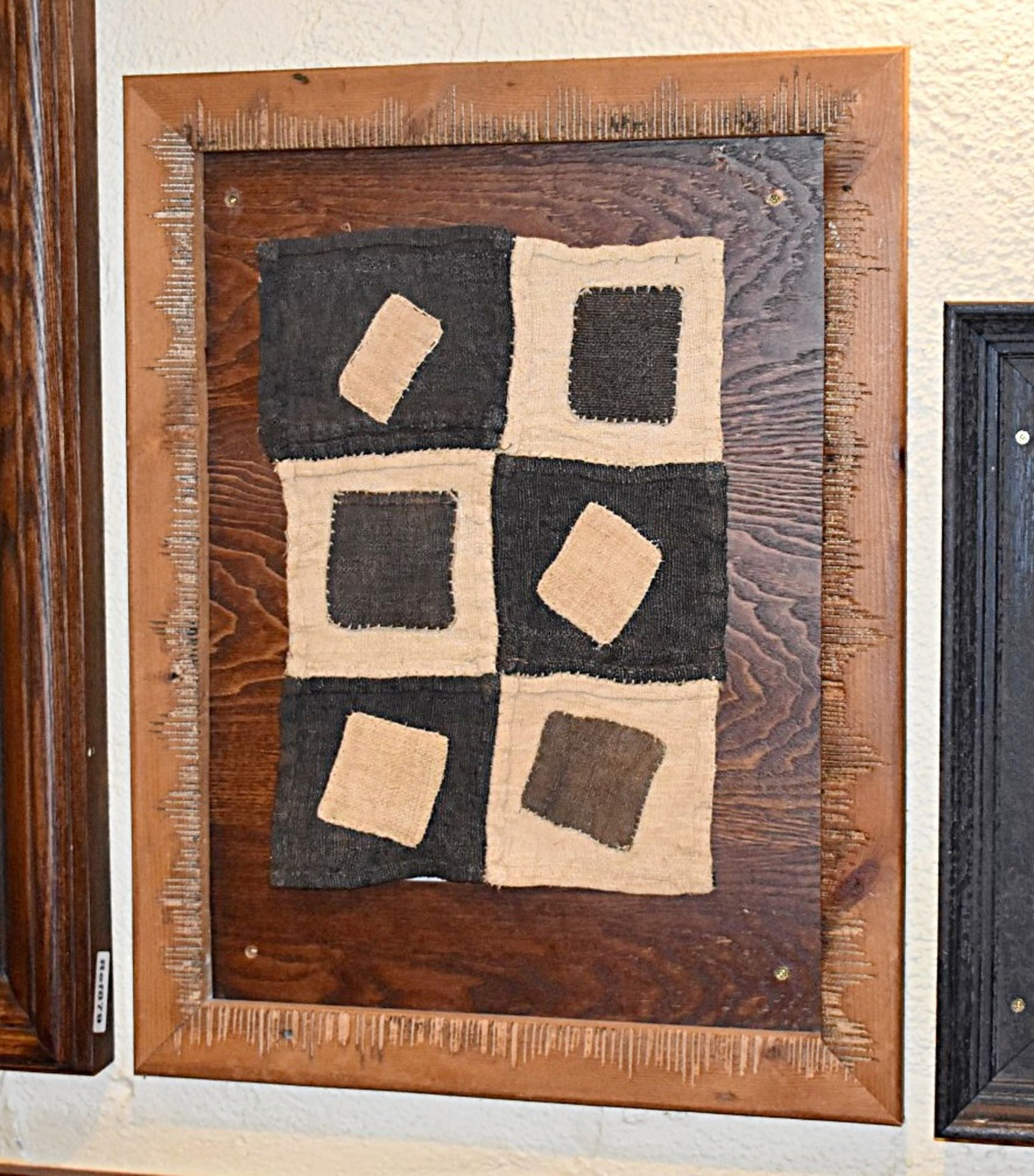Lot 9700 - 10 x Wall Pictures With Fabric Patch Artwork and Rustic Wooden Frames - Size 48 x 61 cms - Ref
