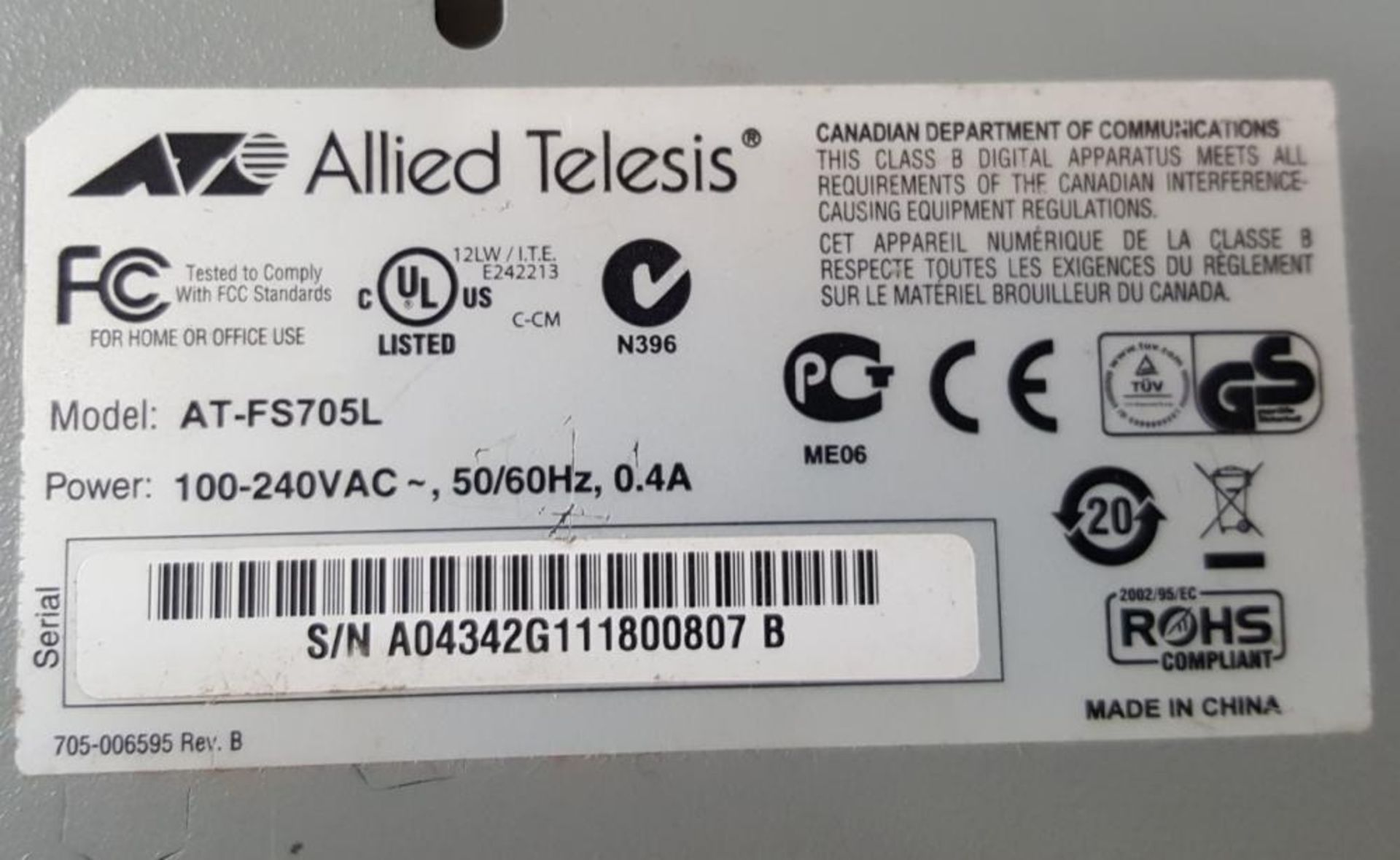 Lot 3746 - 1 x Allied Telesis AT FS705L 5 Port Switch - Ref HK223 AA2 - CL394 - Location: Altrincham WA14<br /