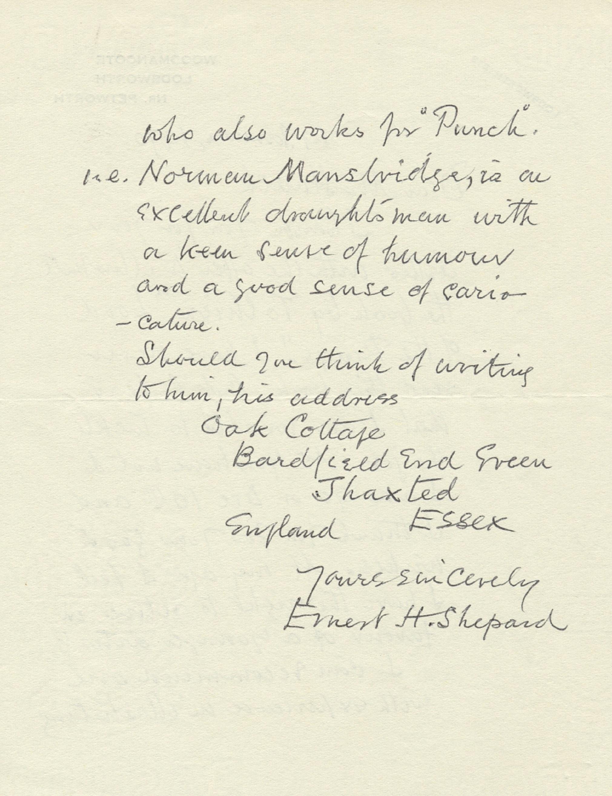 Lot 264 - SHEPARD ERNEST H.: (1879-1976) English Artist and book Illustrator.