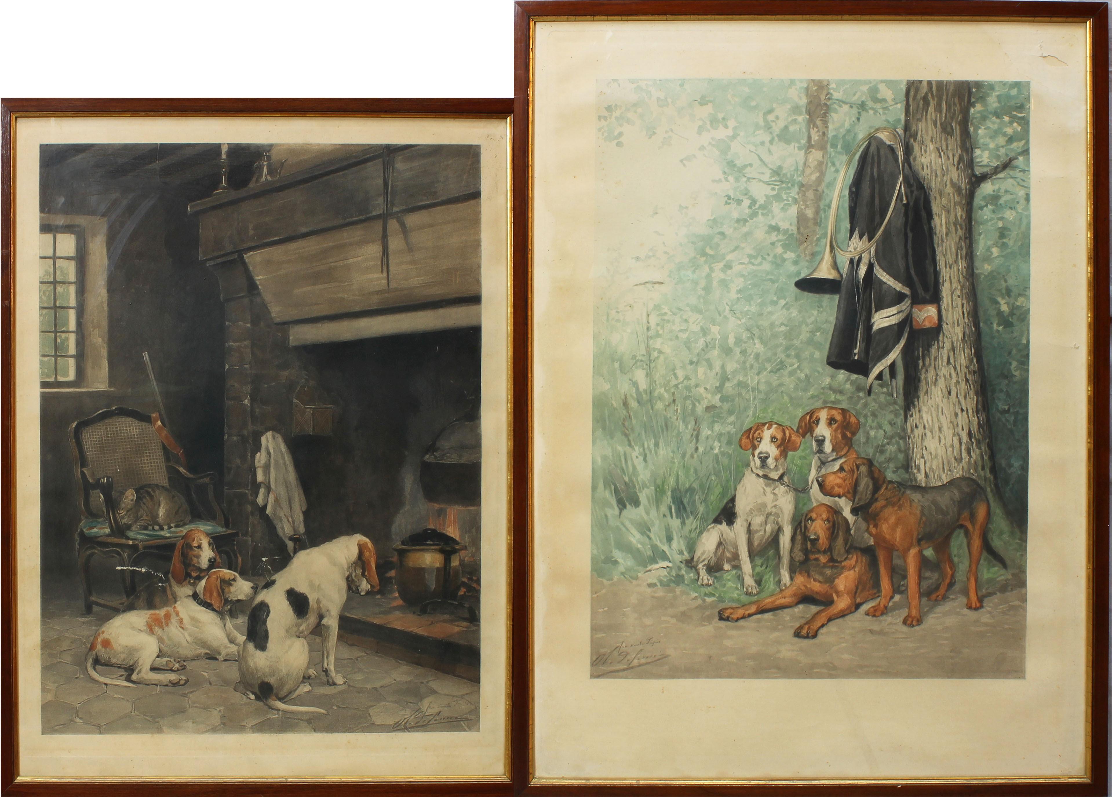 Lot 24 - Scene con cani, due stampe acquerellate, cm. 40x56