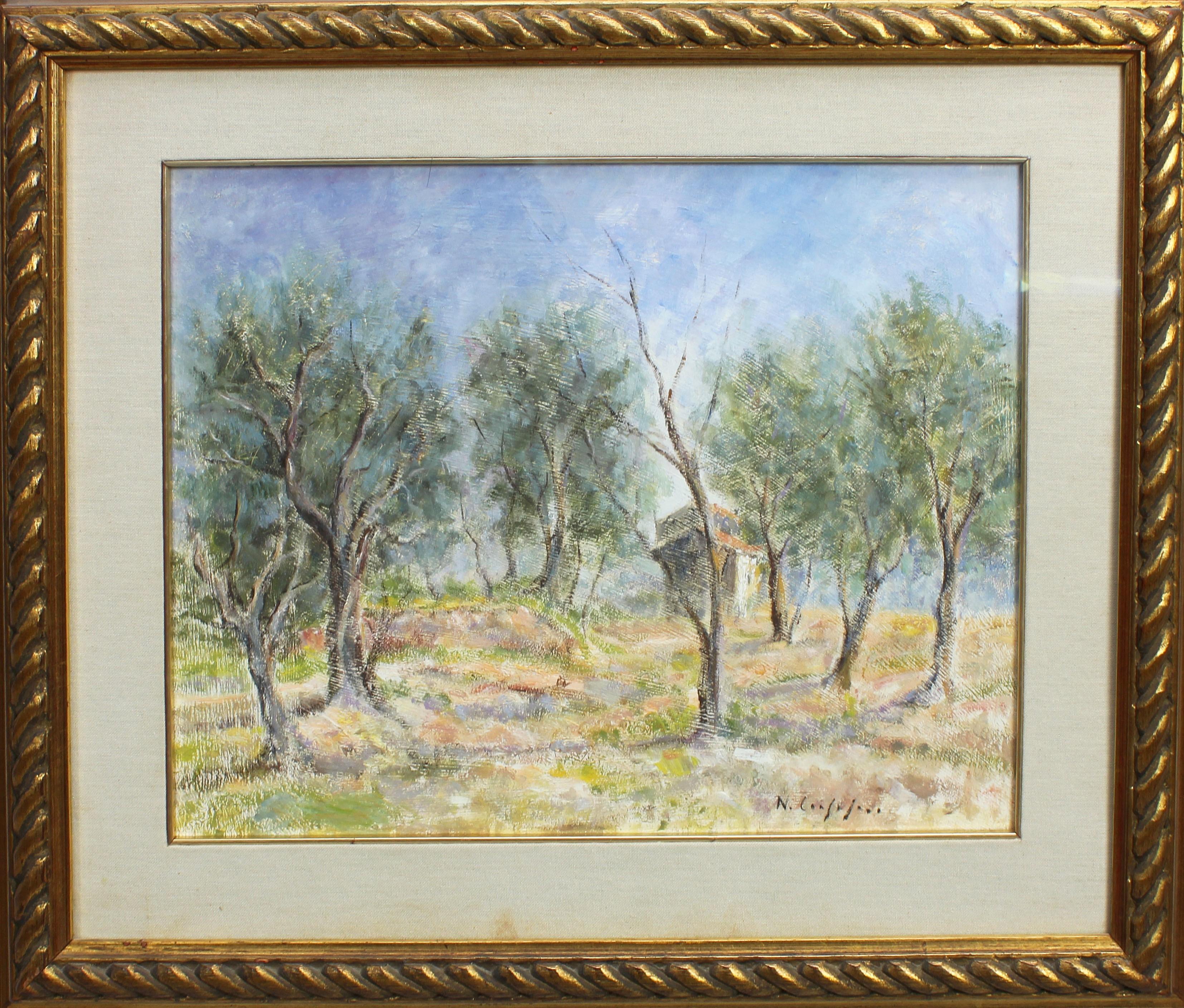 Lot 34 - Casa nel bosco, a firma Nino Consolaro, olio cm. 48x40