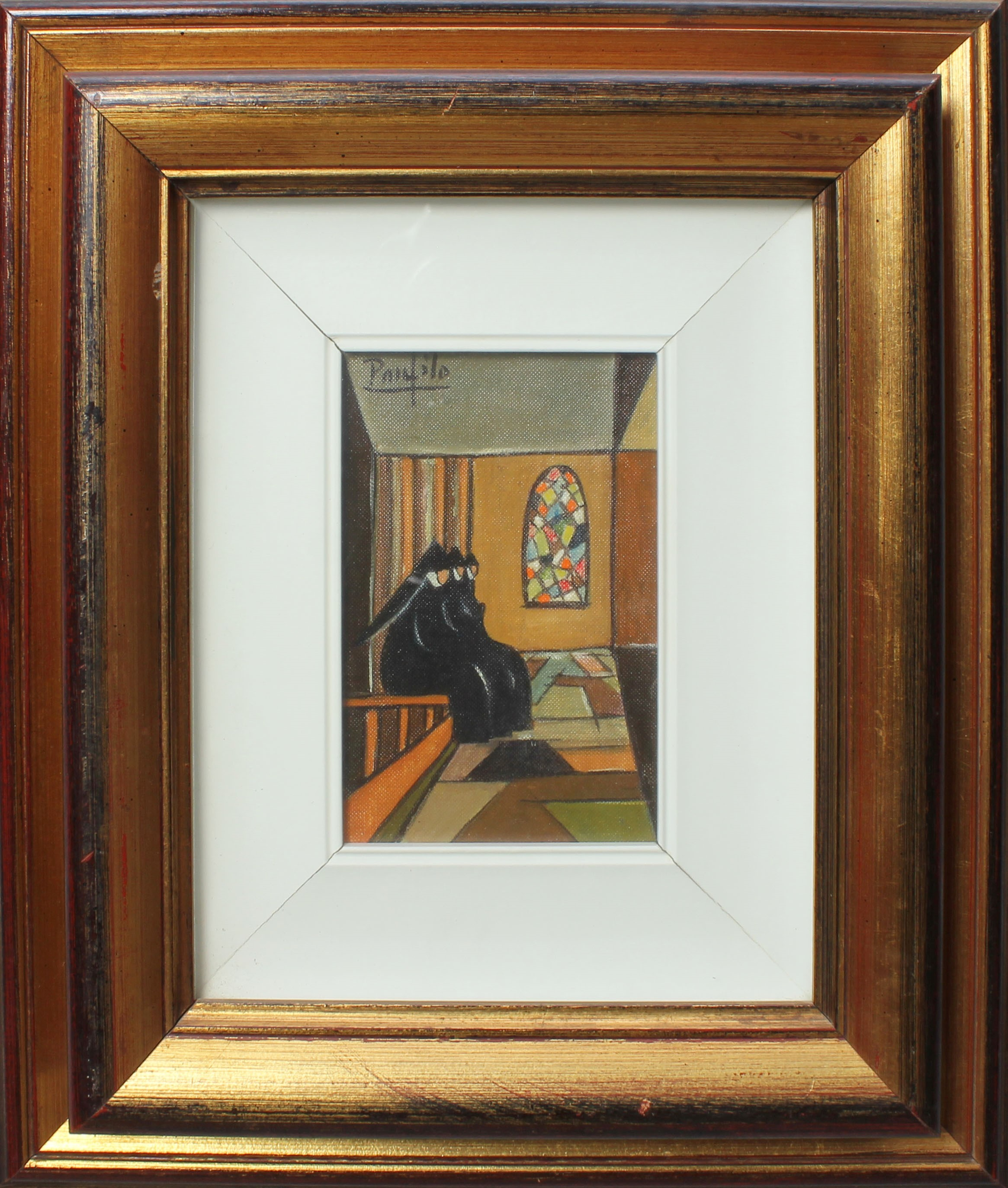 Lot 41 - Suore in preghiera, a firma Panfilo, olio cm. 10x14