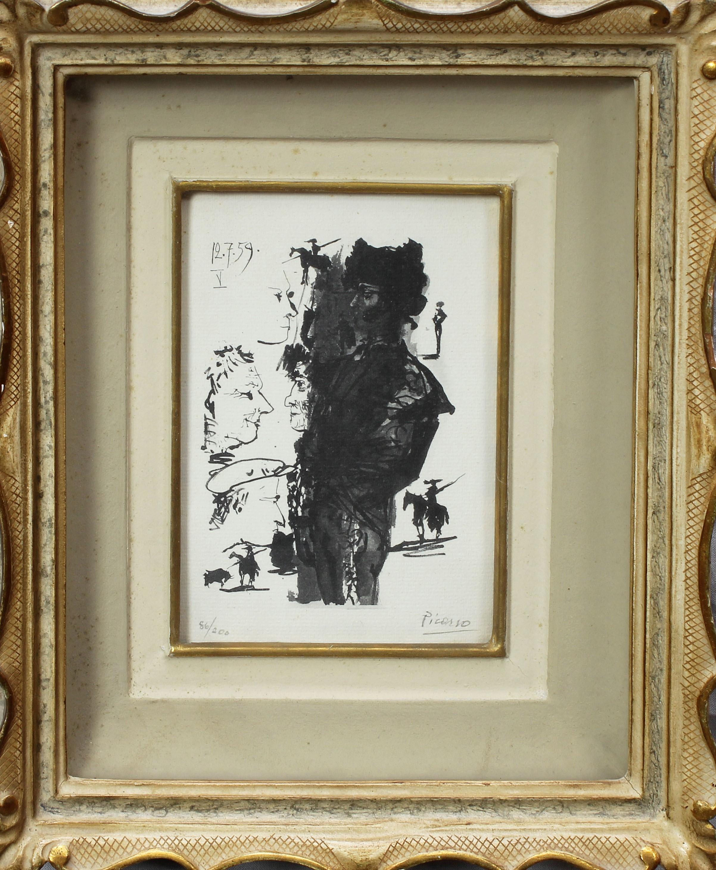 Lot 17 - Toreros, grafica 56/200 con firma a matita Picasso?, data 12.7.59, cm. 11x15