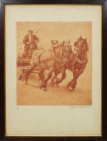 Lot 9 - Lotto di due grafiche raffiguranti cavalli con carro cm. 24x26 e ritratto di Francesco Cornieri
