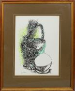 Lot 12 - Cesto di vimini, grafica, firmata Guttuso?, cm. 36x48