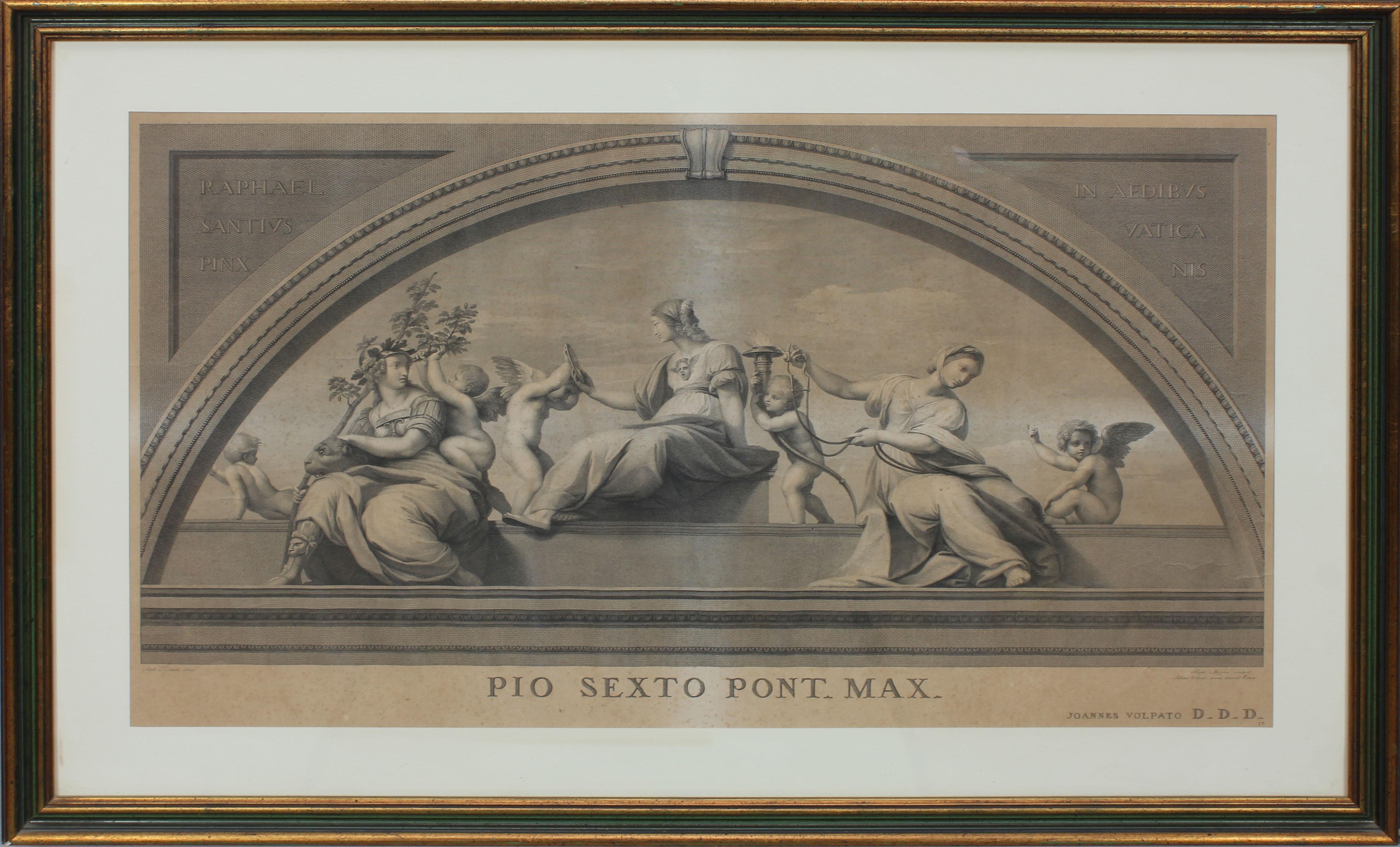 Lot 47 - Scena con donne e putti, stampa, cm. 74x44